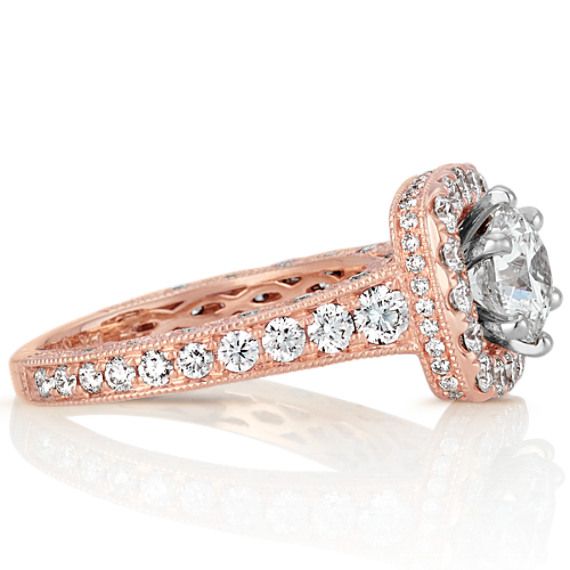 Halo Vintage Round Diamond Engagement Ring With Pave Setting In Rose
