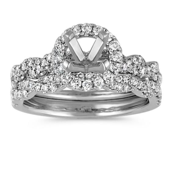 Halo and Infinity Diamond Wedding Set