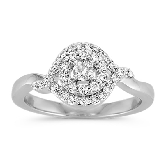 Halo and Swirl Round Diamond Ring in Sterling Silver