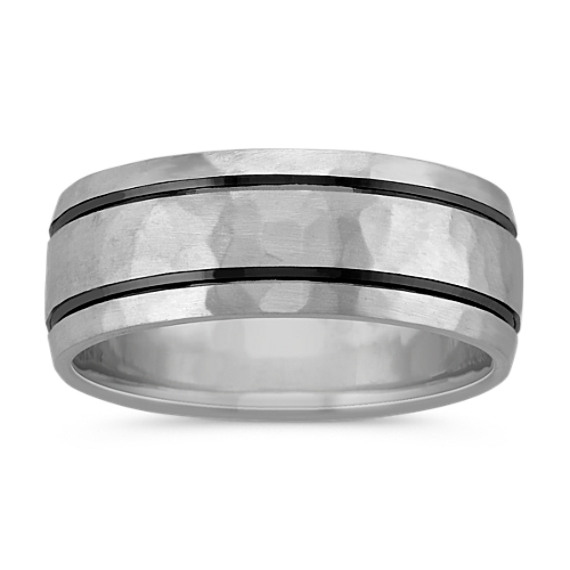 Hammered Mens Comfort Fit Ring (8mm)