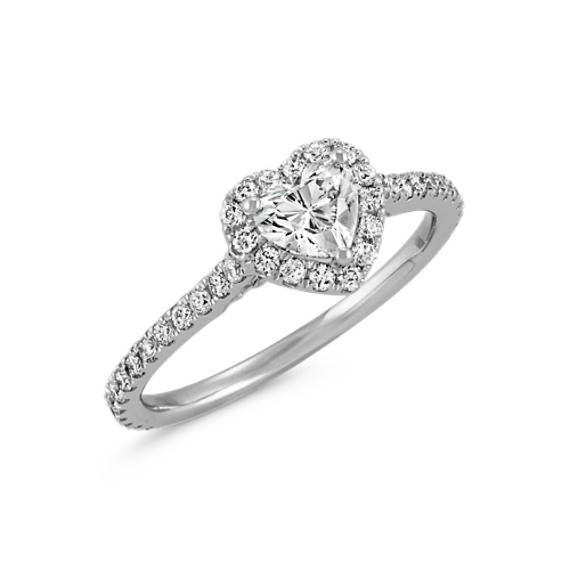 HeartShaped Diamond Halo Engagement Ring Shane Co