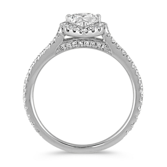 Heart-Shaped Diamond Halo Engagement Ring image