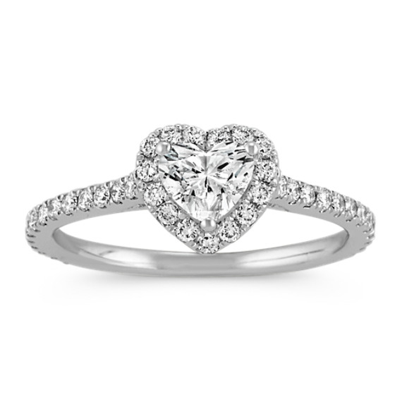 Heart-Shaped Diamond Halo Engagement Ring