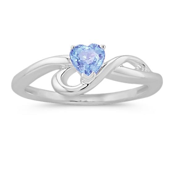 Heart-Shaped Ice Blue Sapphire Ring in Sterling Silver