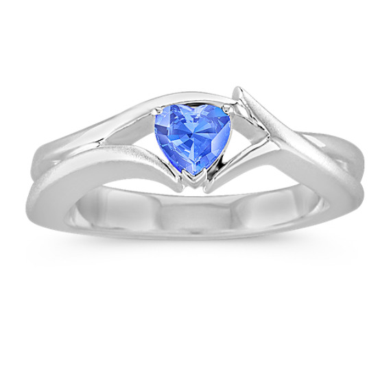 Heart-Shaped Kentucky Blue Sapphire Crossing Ring in Sterling Silver