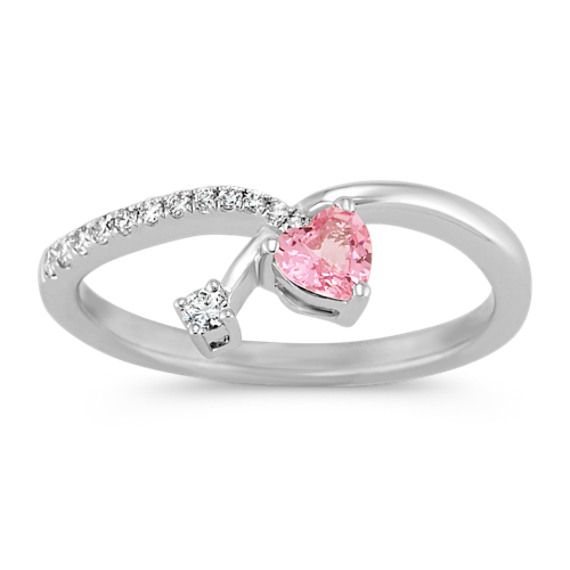 Heart-Shaped Pink Sapphire and Round Diamond Ring