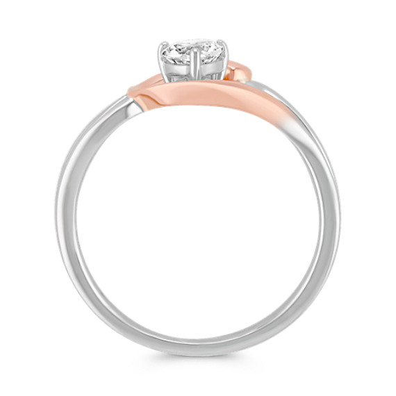 Heart-Shaped White Sapphire Ring in 14k Rose Gold and Sterling Silver image