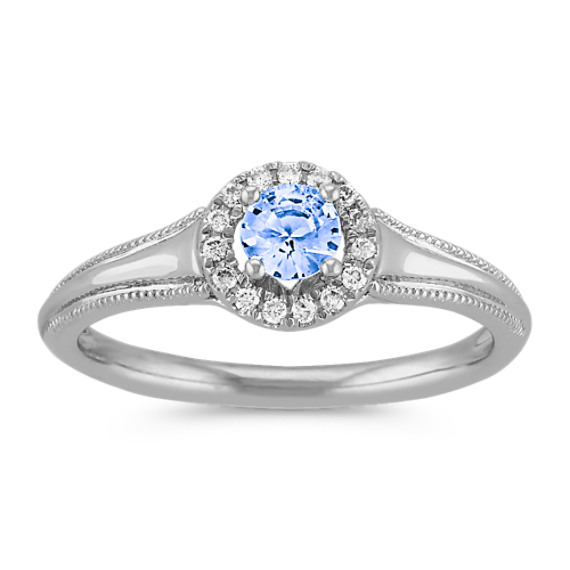 white moissanite engagement accents attachment ring popular and saphire ice reputable hexagon to blue with rose diamond of rings sapphire