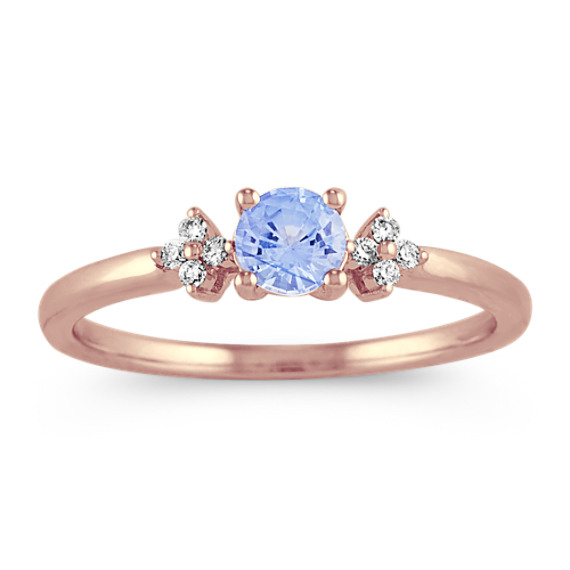 Ice Blue Sapphire and Diamond Ring in 14k Rose Gold