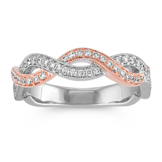 Infinity Diamond Wedding Band in White and Rose Gold