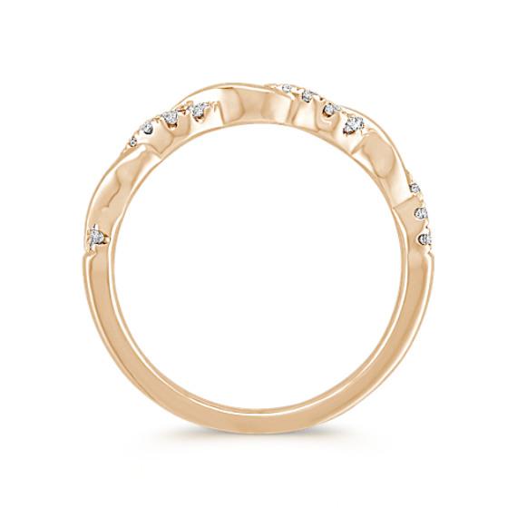Infinity Diamond and 14k Yellow Gold Wedding Band image
