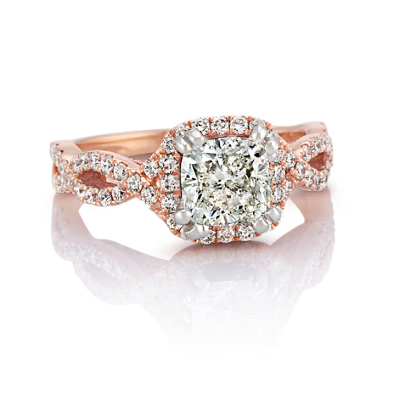 Infinity Halo Diamond Engagement Ring In 14k Rose Gold Shane Co