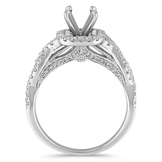 Infinity Halo Diamond Engagement Ring in 14k White Gold image