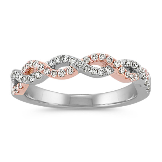Infinity Twist Diamond Wedding Band in 14k White and Rose Gold