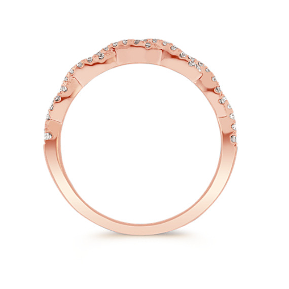 Infinity Twist Pave-Set Diamond Wedding Band in 14k Rose Gold image