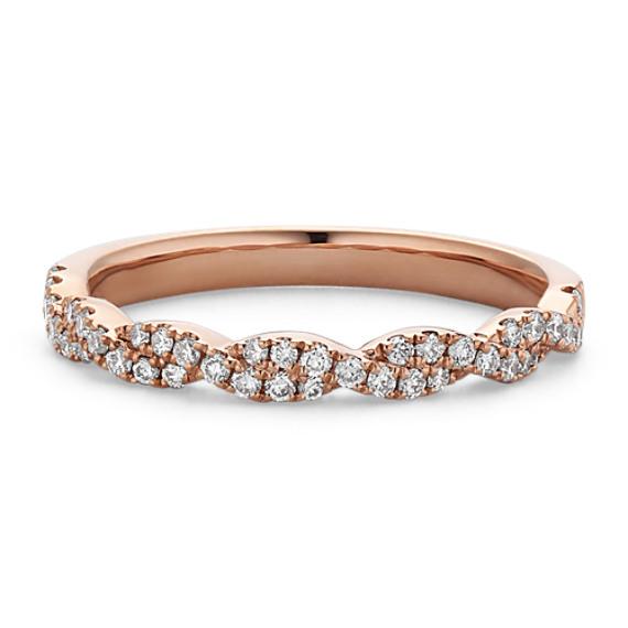 Infinity Twist PaveSet Diamond Wedding Band in 14k Rose Gold