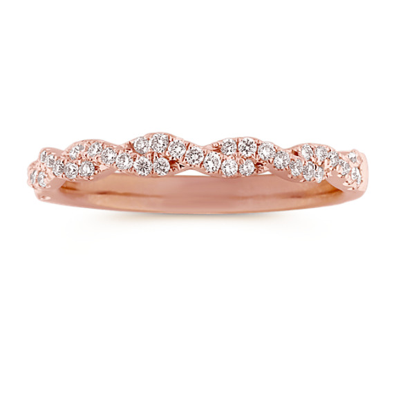 Infinity Twist Pave Set Diamond Wedding Band In 14k Rose Gold