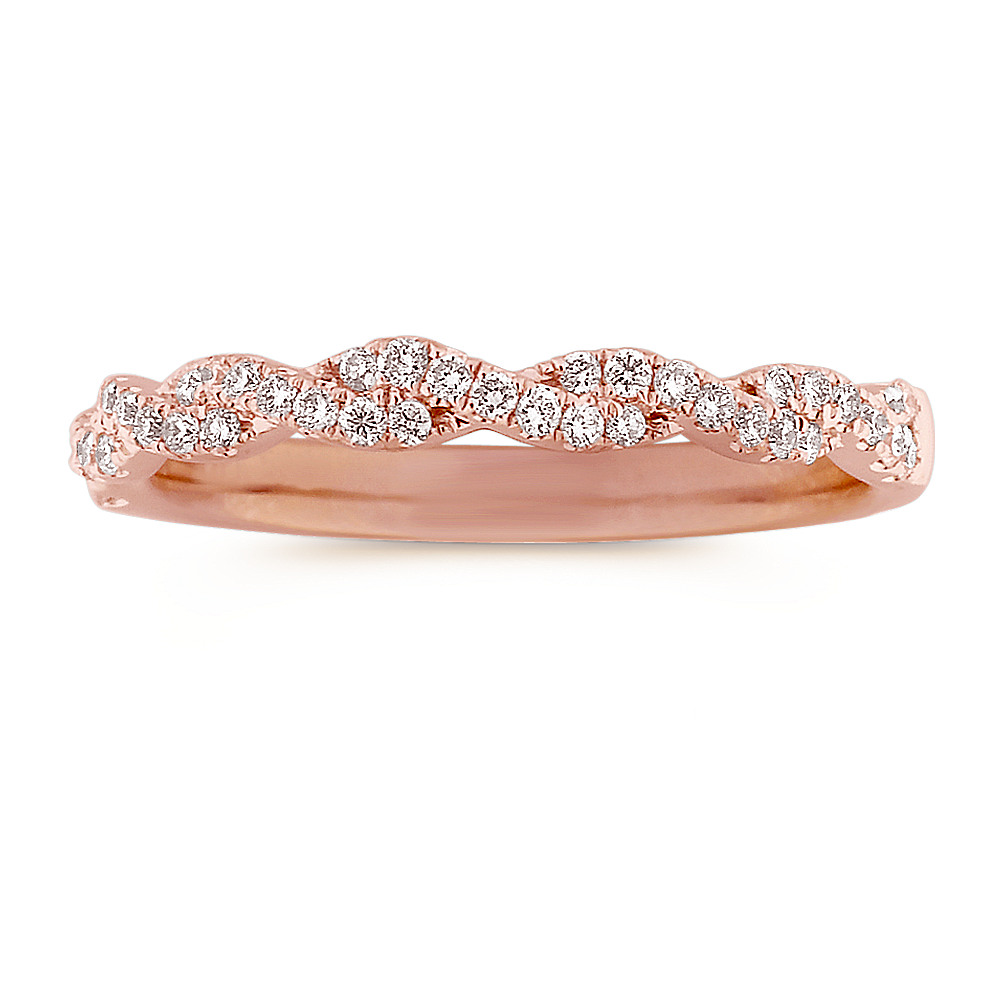 sapphire p in pink band over infinity pav silver eternity ring rose gold plated pave