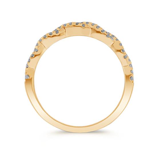 Infinity Twist Pave-Set Diamond Wedding Band in 14k Yellow Gold image
