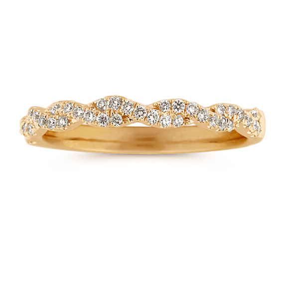 Infinity Twist Pave-Set Diamond Wedding Band in 14k Yellow Gold