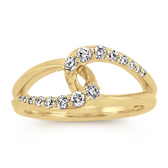Interlocking Diamond Ring in 14k Yellow Gold