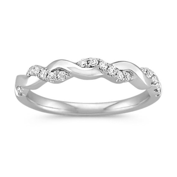 Interwoven Diamond and 14k White Gold Infinity Wedding Band