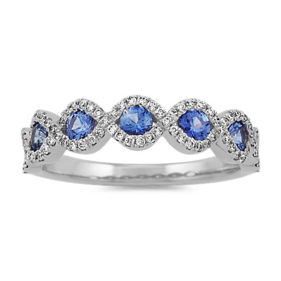 Kentucky Blue Sapphire and Diamond Ring in 14k White Gold