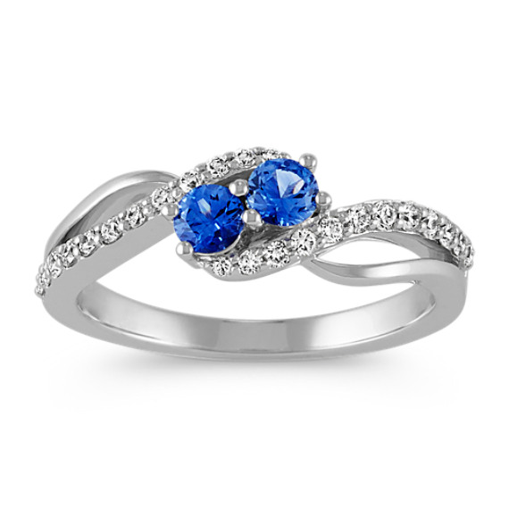 Kentucky Blue Sapphire and Diamond Two-Stone Ring in 14k White Gold
