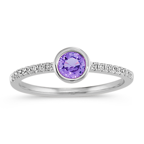 Lavender Sapphire & Diamond Ring in 14k White Gold