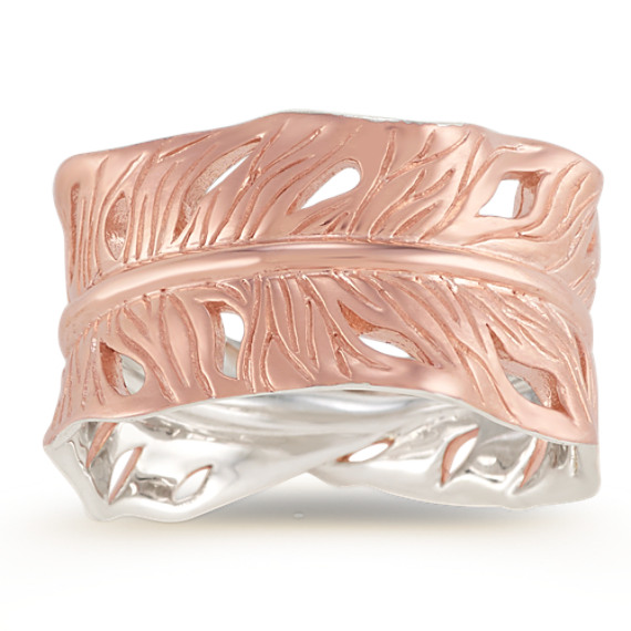 Leaf Ring in Rose Plated Sterling Silver