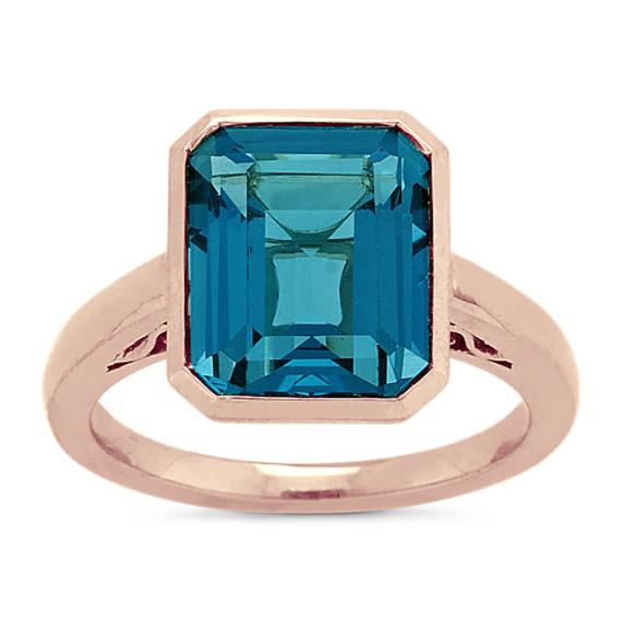 London Blue Topaz Ring in 14k Rose Gold