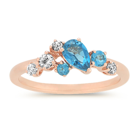 London Blue Topaz and Aquamarine Cluster Ring