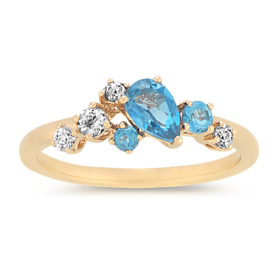 London Blue Topaz and Blue Gemstone Ring in 14k Yellow Gold