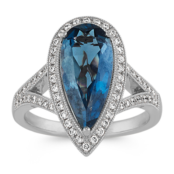 London Blue Topaz and Diamond Cocktail Ring