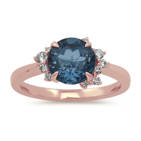 London Blue Topaz and Diamond Ring in 14k Rose Gold