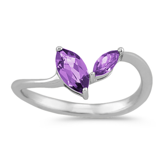 Marquise Amethyst Ring in Sterling Silver