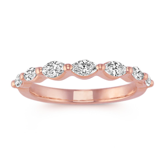 Marquise Diamond Wedding Band in 14k Rose Gold Shane Co