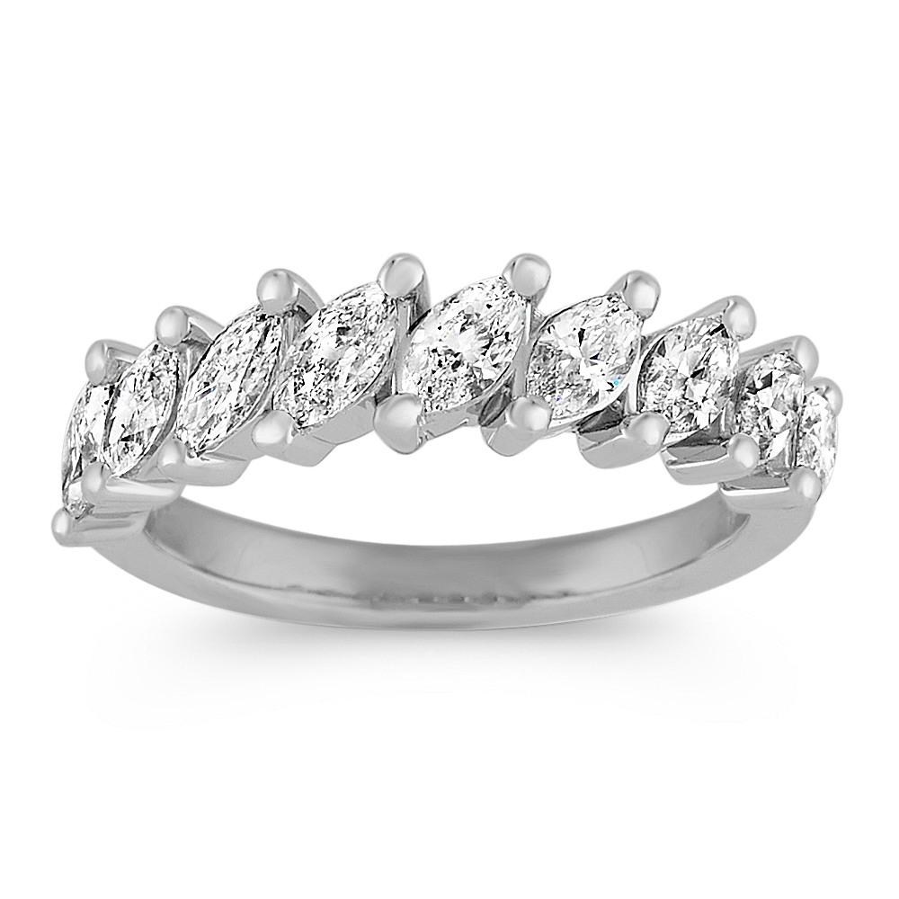 Marquise Diamond Wedding Band In 14k White Gold Shane Co