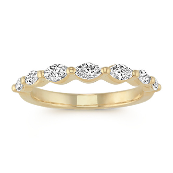 Marquise Diamond Wedding Band in 14k Yellow Gold