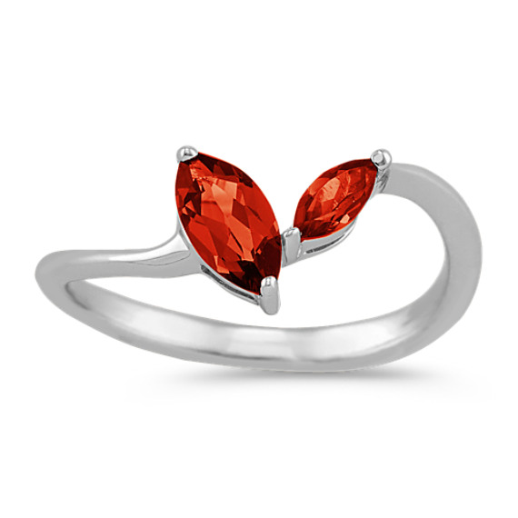 Marquise Garnet Ring in Sterling Silver