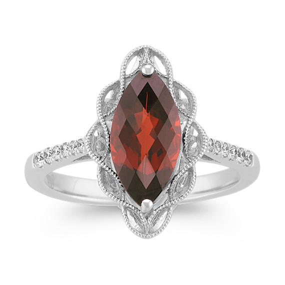 Marquise Garnet and Round Diamond Ring in Sterling Silver