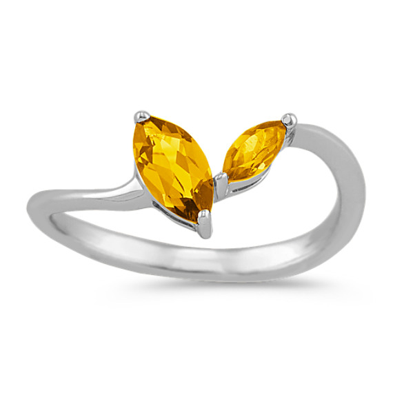 Marquise Golden Citrine Ring in Sterling Silver