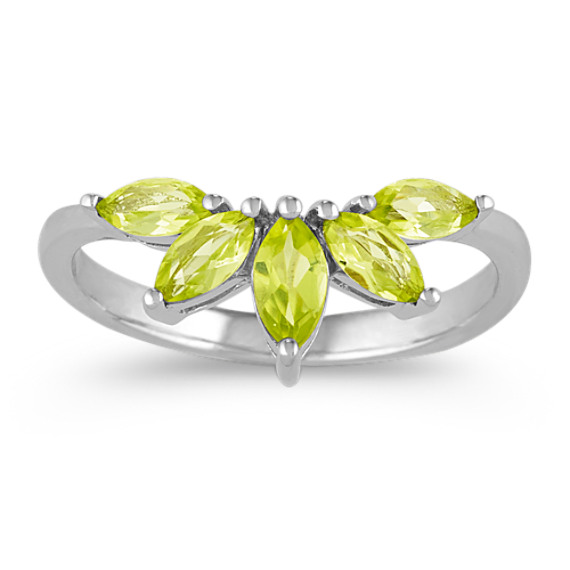 Marquise Green Peridot Ring in Sterling Silver