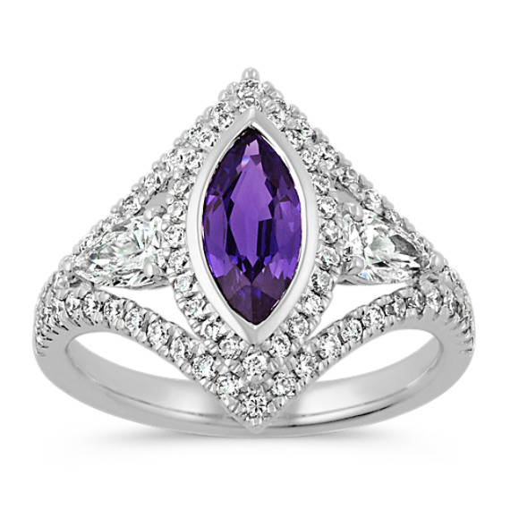 Marquise Lavender Sapphire, Pear-Shaped Diamond and Round Diamond Ring