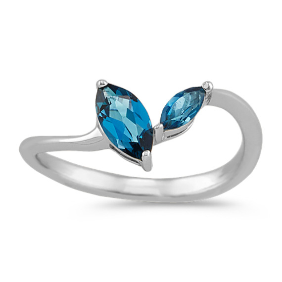 Marquise London Blue Topaz Ring in Sterling Silver