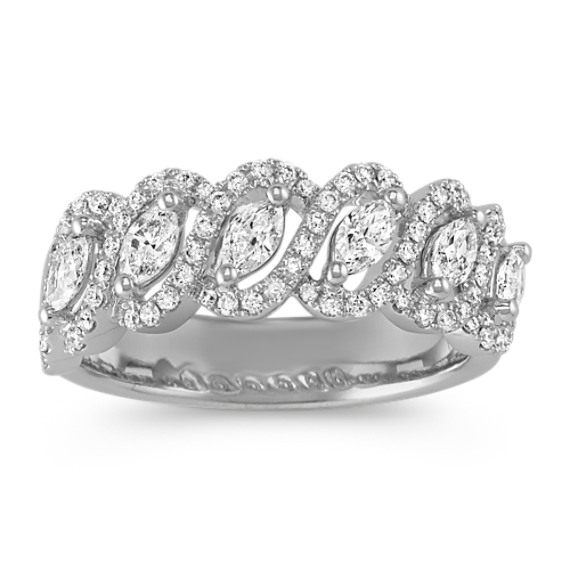 Marquise and Round Diamond Ring in 14k White Gold