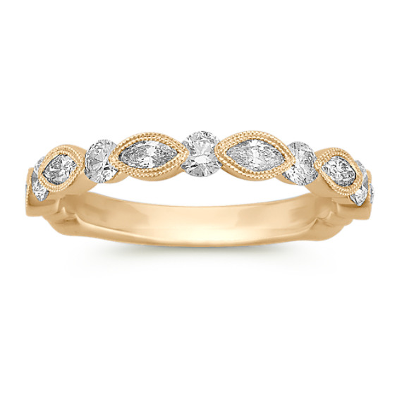 Marquise and Round Diamond Vintage Wedding Band in 14k Yellow Gold