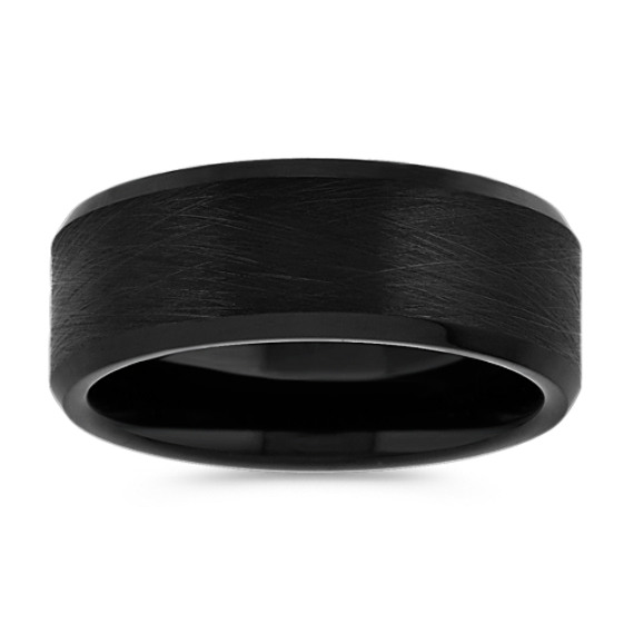 Max-T Black Titanium Ring with Brushed Finish (8mm)