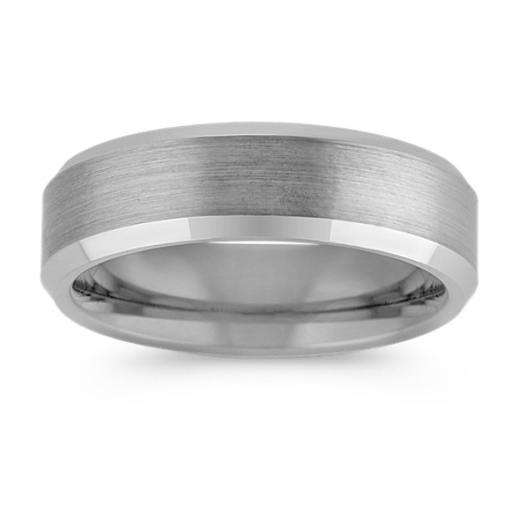 Max-T Brushed and Slant Edge Titanium Comfort Fit Ring (6.5mm)