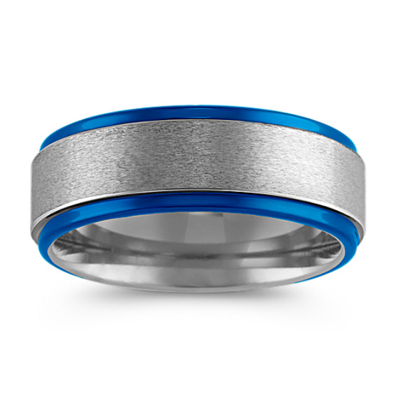 Max-T Comfort Fit Titanium Band with Blue Ionic Plating (8mm)